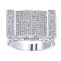 1.52 Ct Round Natural Diamond Cluster Wedding Men's Band Ring 14K White Gold