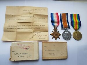WW1 1915 STAR,WAR & VICTORY MEDALS,COLOUR SERGEANT HAMPSON 1/4th SOUTH LANC REGT