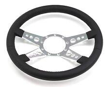 Mustang Steering Wheel Leather Black 4 Spoke w/ Holes 1965 66 67 68 69 70 71-73
