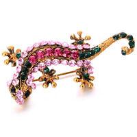 Fashion Cute Animal Gecko Spille Lega di Cristallo per Donna Spilla Pins Di B8O4