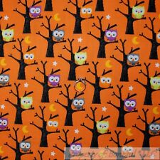 BonEful Fabric Cotton Quilt Orange Black Halloween Baby Owl Bird Moon Star SCRAP