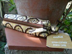 "Ankit 7"" Vegan Leather Pencil/Makeup Case with gold detail"