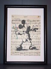 VINTAGE antico musica libro pagina parete Pop art print Picture-Bansky Style Mickey