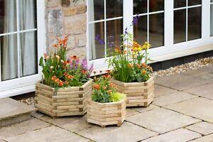 Zest 4 Leisure Set of 3 Marford Wooden Hexagonal Garden Planters 00492