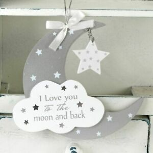 Twinkle Twinkle MDF Moon & Star Hanging Plaque