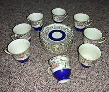 F&B Baronet Bohemia Czechoslovakia Teacup & Saucer - Kathleen - 8 sets