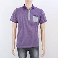 Jeff Banks Mens Size S M Grey Purple Stripe Short Sleeve Polo Shirt Top