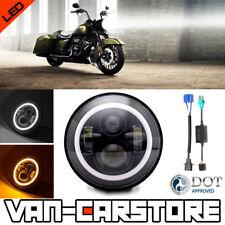 "1x 7"" Black LED Daymaker Headlight Halo Angel Eye FIT Harley Davidson Road King"