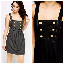 Women Military Black Grey Pinafore Button A-Line Dungaree Tunic Dress 8 10 12 14