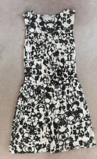 YSL Yves Saint Laurent BIack White Abstract Floral Sheath Dress Sz Small