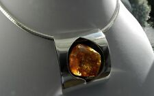 Exquisite! 52g sterling silver 925 modernist amber nugget choker collar necklace