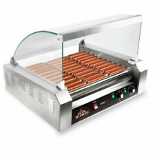 Olde Midway ROLL-PRO30-CVR Electric 30 Hot Dog 11 Roller Grill Cooker Machine with Cover