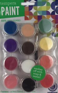 TEMPERA PAINT SET OF 12 Colors FAST DRYING WASHABLE