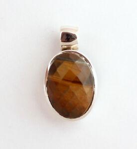 Tiger Eye Pendant Gemstone 925 Silver Yellow Oval Pretty Jewelry L-1 15/32in