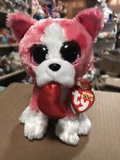 "Ty ROMEO -Pink/White w/Heart Pattern Valentine Boxer Dog 6"" Beanie Boo *Retired*"