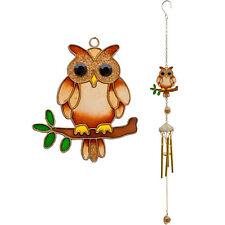 Glass Resin Owl Windchime  Sun Catcher -Garden Mobile  Wind Chime 53 x 7 cm Gift