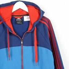 Vintage ADIDAS Small Logo Zip Up Hoodie Sweatshirt Red Blue Large L