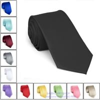 Men's Dress Tie Solid Color Classic Neck Tie 100% Silk Polyester Woven Necktie