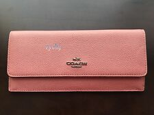 NWT COACH EMBOSSED TEXTURED LEATHER SOFT WALLET PINK 52331