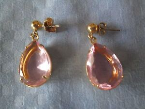 AVON*DANGLING PINK PIERCED EARRINGS W/SURGICAL STEEL POSTS*NEW*RARE*OLD STOCK