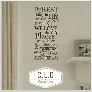 Quote Wall Sticker Vinyl Transfer Decor The Best Things.. People We Love Decal