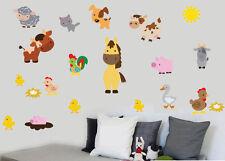 Les animaux de ferme Pack de 20 wall art autocollants en vinyle basse-cour moutons vaches stickers