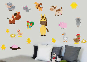 Farm Animals Pack of 20 Wall Art Vinyl Stickers Farmyard Sheep Cows Decals