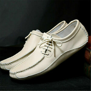 Men Moccasin-Gommino Casual Driving Loafer Faux Leather Lace Up Boat Shoe Flat