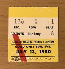 1980 Queen The Game Tour Oakland Concert Ticket Stub Freddie Mercury Brian May