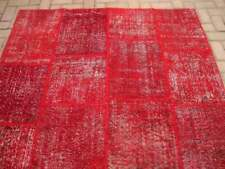 5.3x7.7 ft Vintage Handmade Decor Overdyed Red Color Oushak Patchwork Area Rug