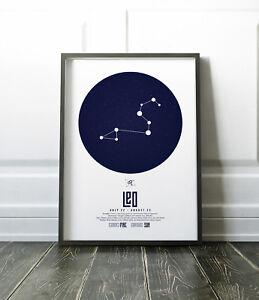 Zodiac Star Signs Print / Picture Leo / Modern / Minimalist Wall Art