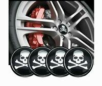 4x Skull Wheel Rim Center Hub Cap Decal Cover Emblem Car Sticker Accessories