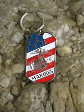US Marines Insignia Dog Tag Key Ring Chain Porte Clés Army USMC Navy WK 1