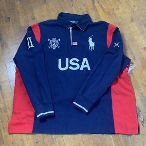 Polo USA Ralph Lauren Big and Tall Mens Navy Pony Logo Long Sleeve Shirt 4XB