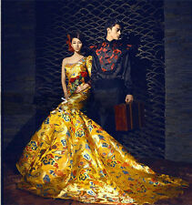 Retro One Shoulder Dragon Robe Quinceanera Dress With Tail Prom Party Ball Gown