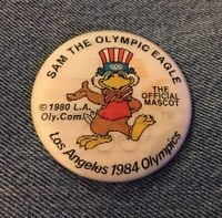 Mascot Sam the Eagle~Pinback Button Pin~L.A.1984 Olympics~Holographic Hologram