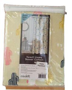 "Llama Cactus Plants 72X72"" Fabric Shower Curtain Waterproof Bathroom"