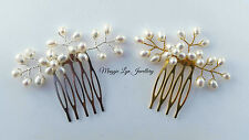 Gold/Silver vintage inspired hair comb, Freshwater pearls. Wedding bride UK