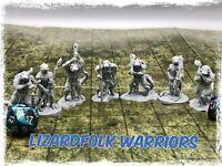 Lizard folk Warriors Set of 7 Miniatures 28mm Dungeons and Dragons DnD Mini