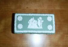 Vtg Wedgwood Celedon Jasper-Ware Green Rectangular Trinket Box with Lid