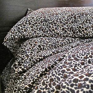 New Ivory & Deene Velvet Fur Leopard Print Queen Size Doona Quilt Cover Bed Set