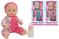 "10"" Baby Doll With Feeding Bottle And Sounds Girls Boys Cuddle Toy Xmas Gift New"