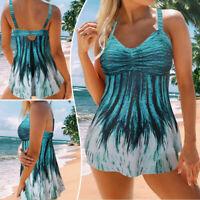 Women's Plus Size Tankini Swimdress Swim Skirt Swimsuit Floral Swimwear TwoPiece