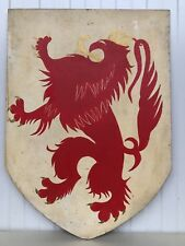 TOP  Vintage Hand painted Heraldic Shield with Lion/Griffin/Gargoyle's in wood 2