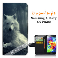 For Samsung Galaxy S5 i9600 Wallet Flip Phone Case Cover White Wolf Y00767