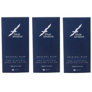3 x Blue Stratos Original Blue Pre-Electric Shaving Lotion 100ml