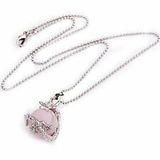 16 mm Rose Quartz Metal Pendant Chain Necklace Collier LW