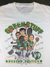 Vintage Mens L 80s Boston Celtics NBA Basketball Caricature Larry Bird T-Shirt