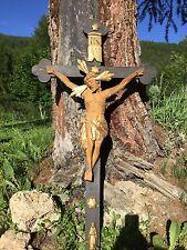 CROCIFISSO in legno Policromo fine XVII sec inizio XVIII sec.misura cm 64x120