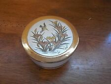 Japanese Art of Chokin TRINKET BOX by Toyo with Beautiful Gold Rim Birds